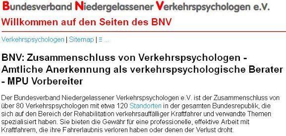 BNV Mitglied - Bundesverband Niedergelassener Verkehrspsychologen - MPU Beratung