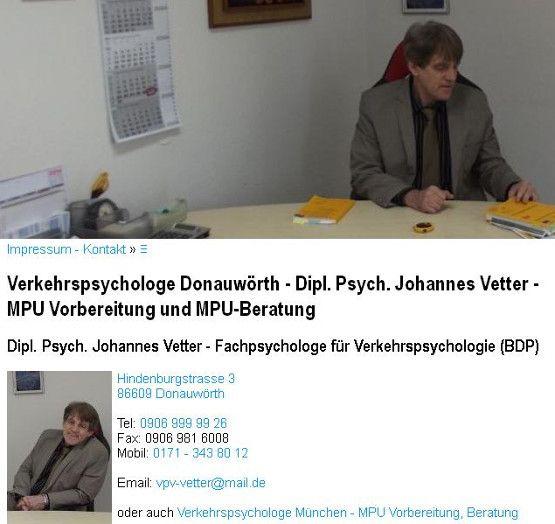 verkehrspsychologe-donauwoerth.de - Dipl. Psych. Johannes Vetter, Fachpsychologe