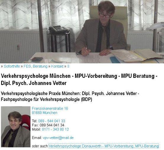 verkehrspsychologe-muenchen.de - MPU-Vorbereitung Johannes Vetter MPU Beratung