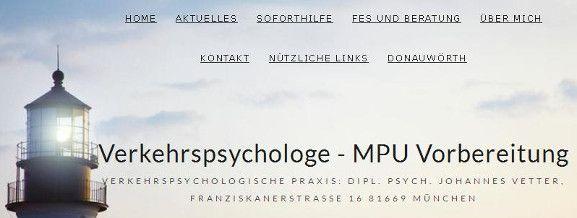 Praxis Verkehrspsychologe Johannes Vetter, Dipl.Psych - MPU-Vorbereitung München